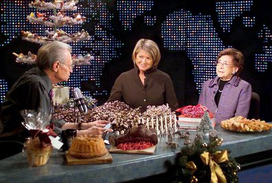 CNN's Larry King interviews Martha Stewart and her mother, Martha Kostyra (right), during a taping of Larry King Live in 2003.
