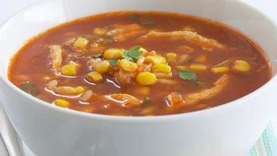 "Recipe: <a href=""http://kitchen.nine.com.au/2016/05/17/22/49/chilli-chicken-corn-and-tomato-soup"" target=""_top"">Chilli, chicken, corn and tomato soup</a>"