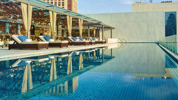 The rooftop pool at Hotel Stripes, Kuala Lumpur.