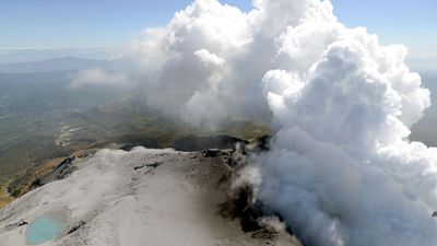 An aerial view of the volcanic eruption. (AAP)
