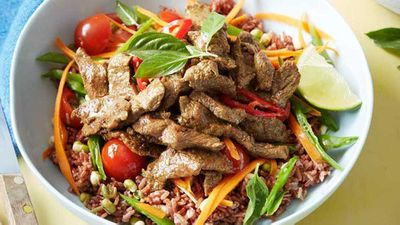 "<a href=""http://kitchen.nine.com.au/2017/03/28/10/12/thai-beef-power-bowl"" target=""_top"" draggable=""false"">Thai beef power bowl with red rice</a> recipe"