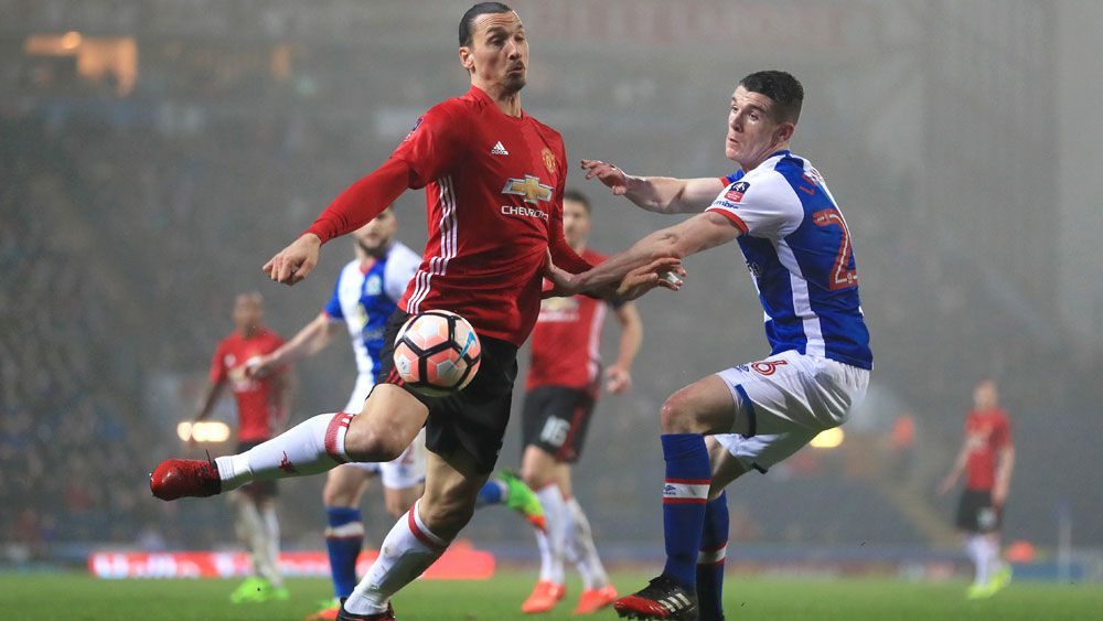 Manchester United's Zlatan Ibrahimovic (left) scored a decisive goal against Blackburn Rovers in the FA Cup. (AAP)