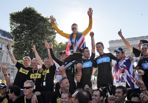 The team celebrates the Tour de France victory of Bradley Wiggins in 2012. (AAP)
