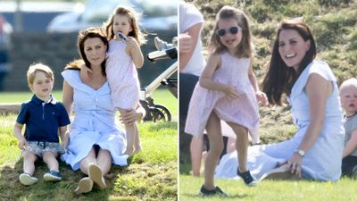 The Duchess of Cambridge goofs around with her kids at the polo