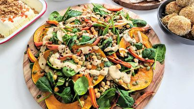 Pumpkin and chickpea tray bake hummus salad