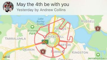 Andrew Collins created a bike ride across Canberra in the shape of the Millennium Falcon spaceship. (Strava)