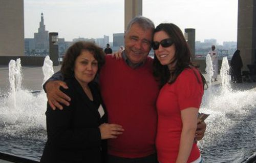 Joeseph Sarlak with new wife Azam. and daughter Layla in Doha, Qatar before he was jailed.