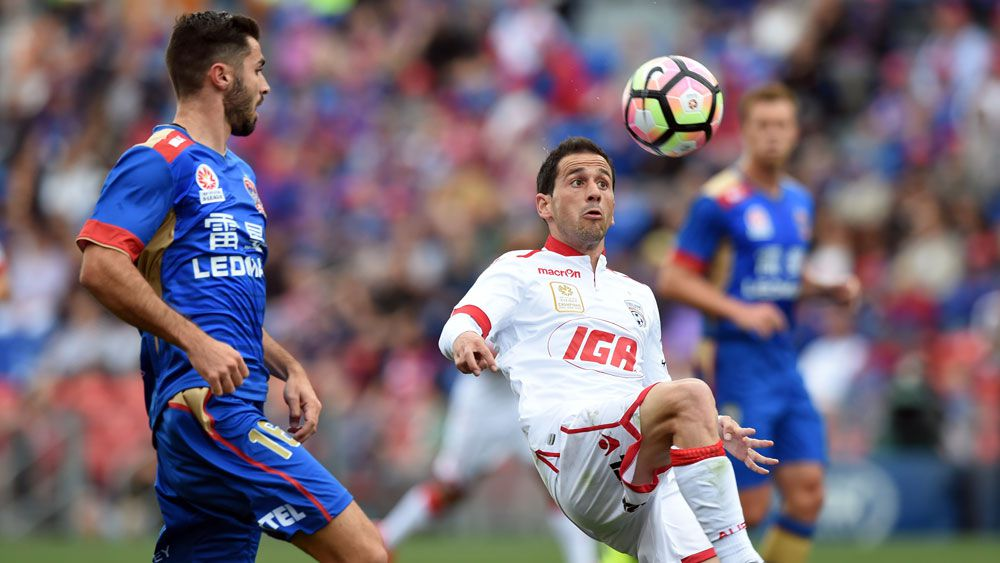 The Newcastle Jets and Adelaide United have drawn 1-1 in the A-League. (AAP)