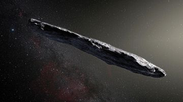 An artist's impression shows the first interstellar asteroid Oumuamua. (Image: EPA).