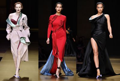 """Donatella Versace paid homage to the """"elegance, sophistication and drama of today's woman"""" with one of her most ladylike collections to date. Replete with duchess satin folds and pleats, the collection gave a nod to the 1950s while gowns slashed up to the thigh or down to navel delivered the signature Versace sex appeal. There was no shortage of star power on the runway either, with everyone from Karen Elson to Irina Shayk all walking in the show. The real 'wow' moment belonged to Bella Hadid though. Click through to see her red hot runway look."""