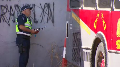 Police stormed the bus depot today. (9NEWS)