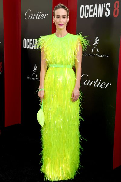 Sarah Paulson in Prada at the New York City premiere of <em>Oceans 8</em>