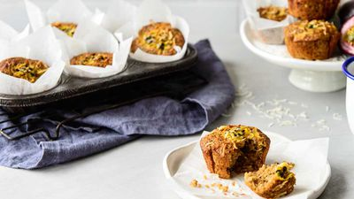 Passionfruit coconut and quinoa muffins