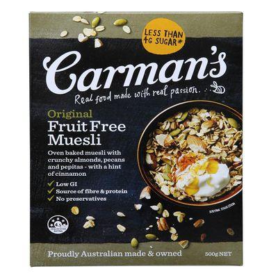 Carman's Fruit Free Muesli - 8g sugars per 100g.