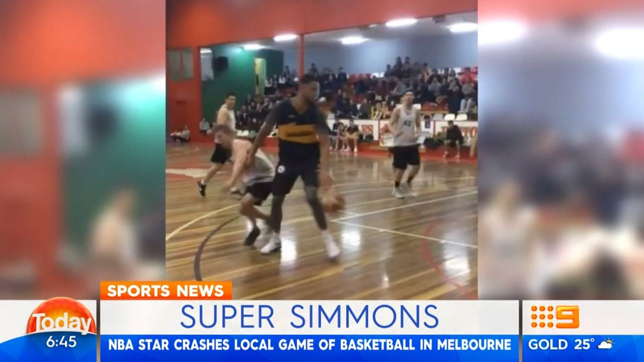 NBA star drops in at local Aussie court.