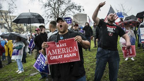 Ten people arrested and 'daggers confiscated' at pro-Trump rally in California
