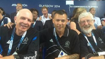 Rugby sevens coach Gordon Tietjens, New Zealand deputy chef de mission Trevor Shailer and sports psychologist Gary Hermansson. And Prince Harry.