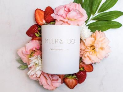 Strawberries + Champagne Boxed Soy Candle — The Block Shop