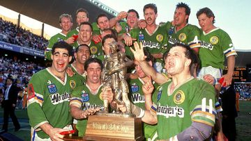 The Canberra Raiders mark their historic win in the 1989 grand final.
