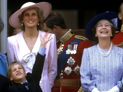 Diana, Princess of Wales, Prince William, Prince Harry, Queen Elizabeth II, Princess Margaret, Prince Charles, Prince of Wales, Trooping the Colour, 17th June 1989. (Photo by John Shelley Collection/Avalon/Getty Images)