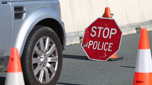 Queensland Police checkpoint at the border with NSW.