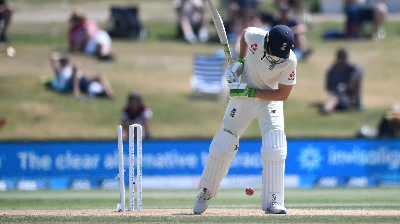 Jos Buttler is bowled without playing a shot against New Zealand.