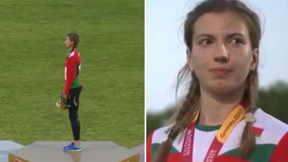 Belarus triple jumper Violetta Skvortsova smirks and walks off over wrong anthem at medal ceremony