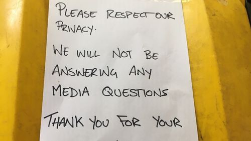 The note left outside Angry Anderson's home.