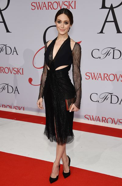 <p>Emmy Rossum in&nbsp;Dion Lee<br><br></p>