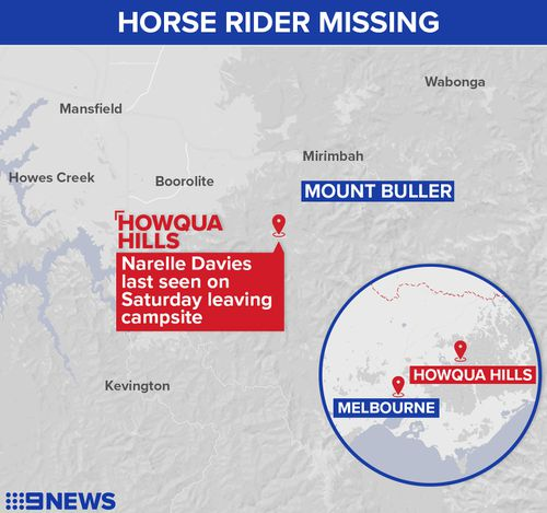 The widespread search for Ms Davies involved the SES and police air wing. (9NEWS)