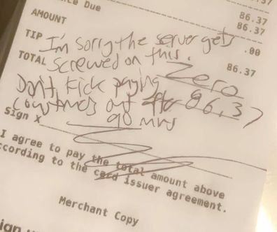 The table refused to tip, leaving a rude note instead.
