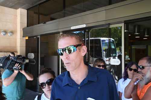 Ms Meyers' brother-in-law, Michael Bates, spoke outside court today. (AAP/AAP Image)