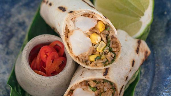 Tropical SunRice Rain Fed Rice Burrito. Recipe and image: Guy Turland for SunRice