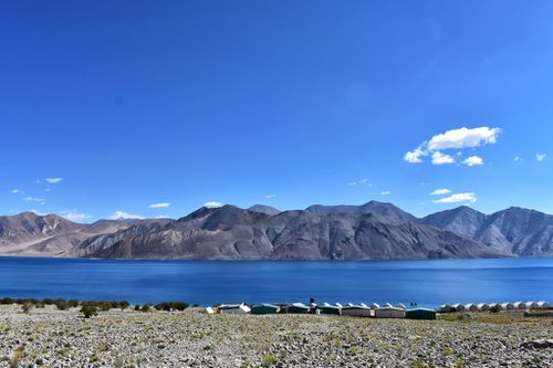 A panormic view of Pangong Lake in Ladakh Valley.
