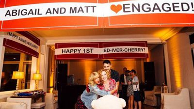 <p>Swift celebrated her friend Abigail Anderson's engagement at the party, hanging a banner for her and her fiance. The pair have been best friends since high school and Ms Anderson features in Swift's song 'Fifteen' and appears in five of her music videos.</p> <p>Swift also hung anniversary banners for Ed Sheeran and his girlfriend Cherry Seaborn, and Cara Delevigne and her girlfriend Annie Clark, who goes by the stage name St. Vincent. (Instagram: @abigail_lauren)</p>