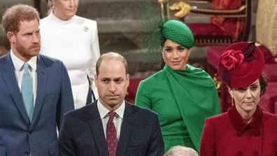 Prince William with Kate, Duchess of Cambridge, and Prince Harry with Meghan Duchess of Sussex, as they leave the annual Commonwealth Service at Westminster Abbey in London in March 2020.