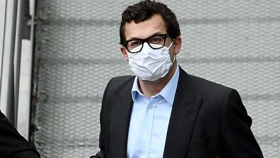 Simon Bowes-Lyon, the the Earl of Strathmore, leaves court in handcuffs after being sentenced to jail for 10 months for sexually assaulting a woman on February 23, 2021 in Edinburgh, Scotland