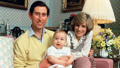 The Prince and Princess of Wales with baby William, 1983