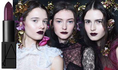 "The romantic, wine-stained lips at Rodarte were courtesy of <a href=""http://mecca.com.au/nars/audacious-lipstick/V-019305.html"" target=""_blank"">Nars' Audacious Lipstick in Liv</a> and <a href=""http://mecca.com.au/nars/velvet-matte-lip-pencil-collection/V-000490.html#q=Nars&start=1"" target=""_blank"">Velvet Matte Lip Pencil in Train Bleu</a>."