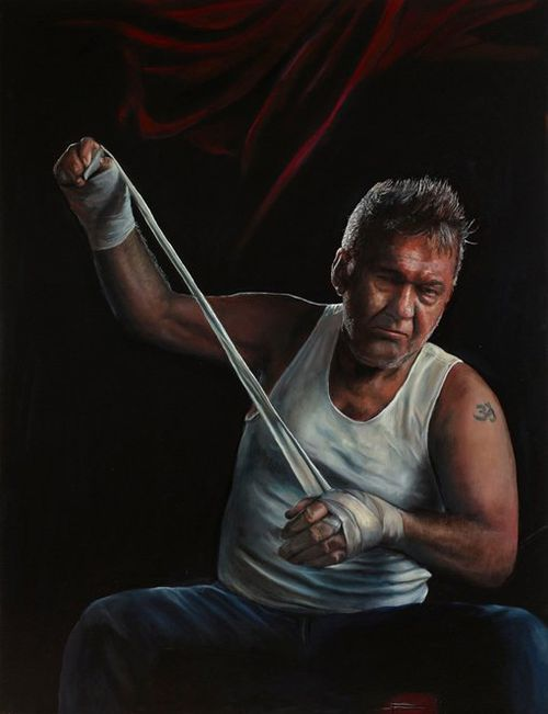 Jimmy (title fight) oil on canvas, by Jamie Preisz (Art Gallery of NSW)
