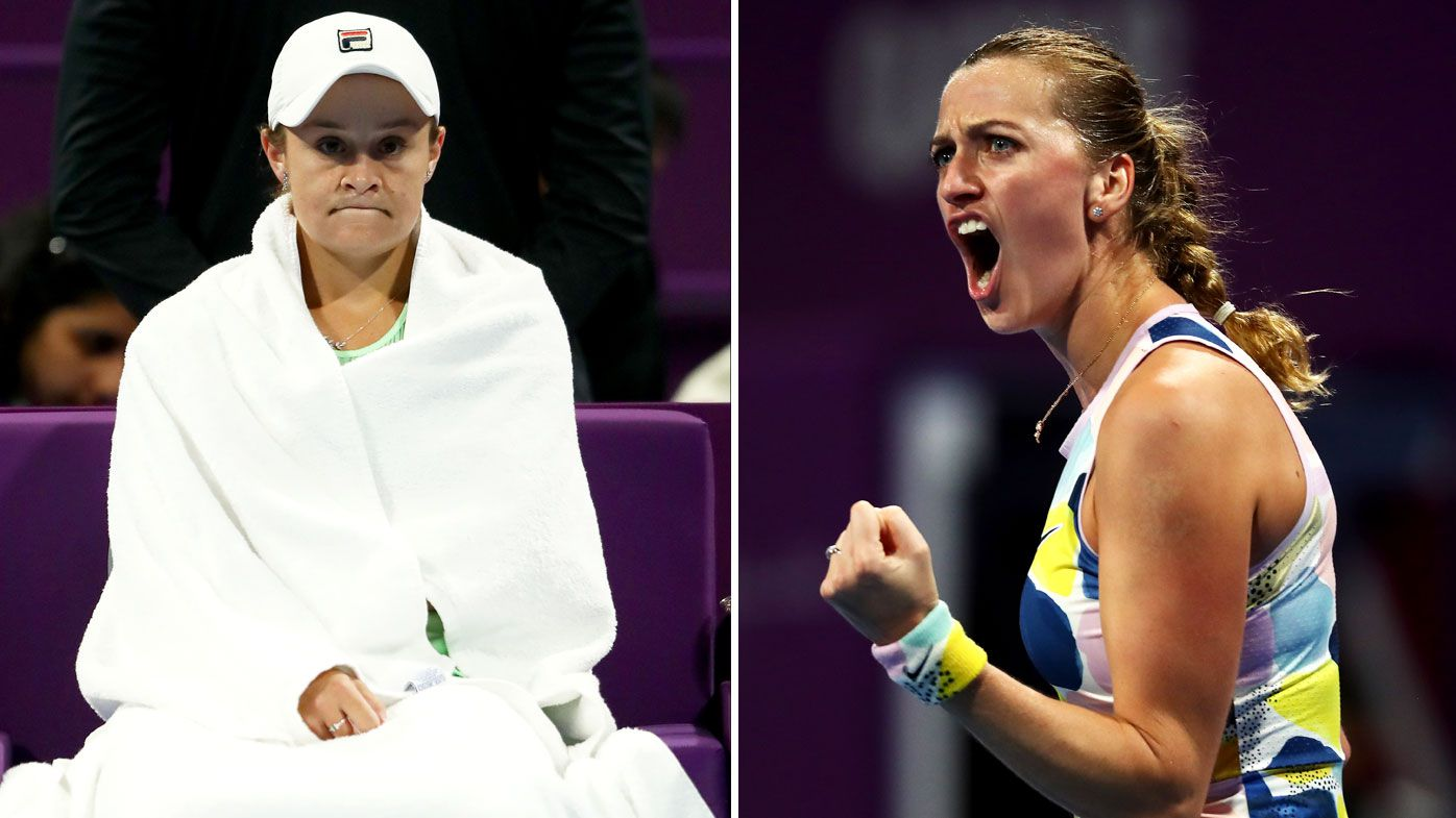 Petra Kvitova of Czech Republic celebrates beating Ashleigh Barty of Australia during Day 6 of the WTA Qatar Total Open