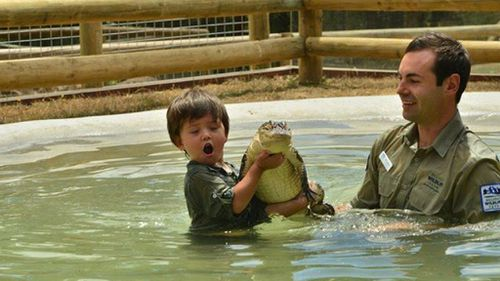 Charlie wrestled his first (baby) crocodile when he was only three-years-old. (Facebook)