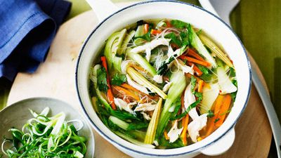 "Recipe: <a href=""http://kitchen.nine.com.au/2016/05/16/13/57/chicken-noodle-soup"" target=""_top"">Chicken noodle and vegetable soup</a>"