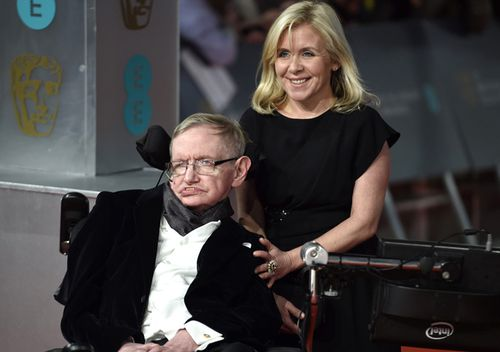 Now deceased British scientist Stephen Hawking and his daughter Lucy Hawking arrive on the red carpet for the 2015 British Academy Film Awards ceremony at The Royal Opera House in London, Britain in 2015.