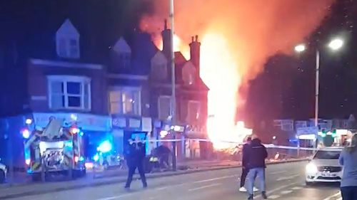 The scene after a 'major incident' was declared by police after reports of an explosion in Leicester. (AAP)