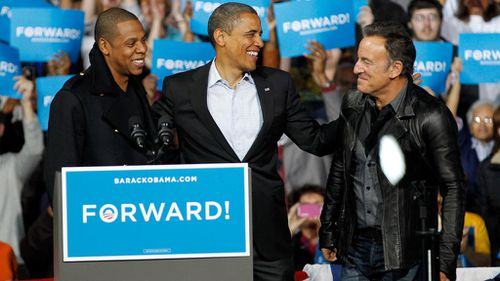 Jay-Z has been active in campaigning for Democratic candidates for US president, pictured here with former President Barack Obama and Bruce Springsteen (Image: AP)