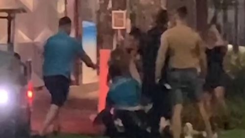 The large brawl was filmed by a group of people at a nearby McDonalds