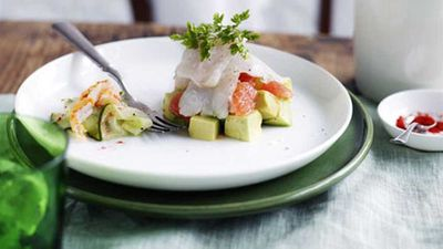 "Recipe:&nbsp;<a href=""http://kitchen.nine.com.au/2016/05/17/13/18/mackerel-ceviche-with-avocado-ruby-grapefruit-and-spanner-crab"" target=""_top"">Mackerel ceviche with avocado, ruby grapefruit and spanner crab</a>"