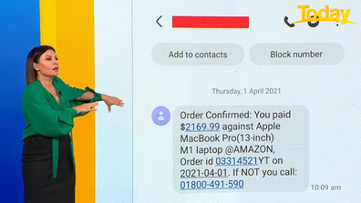Effie Zahos received this message which claimed to be from Amazon.