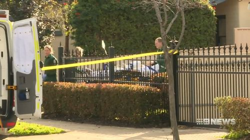 A crime scene was set up at the Gatis home after Dimitri allegedly shot his brother Alex.